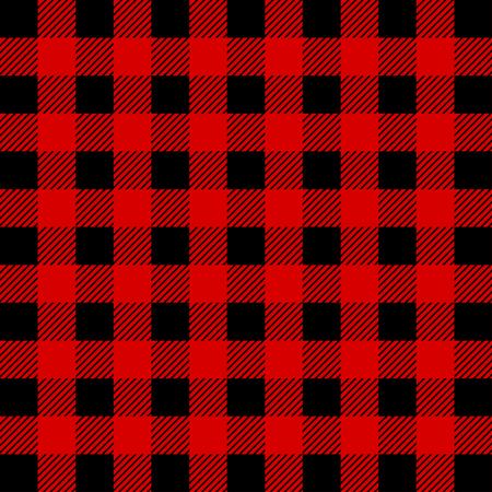 Holzfäller Buffalo Plaid Seamless Pattern. Roter und schwarzer Holzfäller. Nahtloser Vektorhintergrund