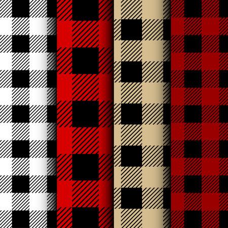 Conjunto de patrones sin fisuras de cuadros de búfalo de leñador. Leñador rojo y negro. Fondo de vector transparente