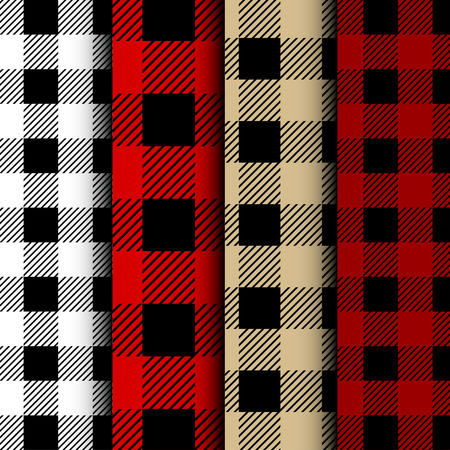 Set of Lumberjack Buffalo Plaid Seamless Pattern. Red and Black Lumberjack. Seamless vector background