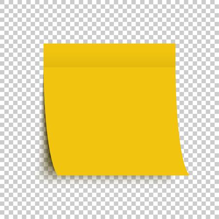 Etiqueta engomada amarilla de la nota del poste. Nota adhesiva. Pegatina amarilla con sombra sobre fondo transparente. Eps10
