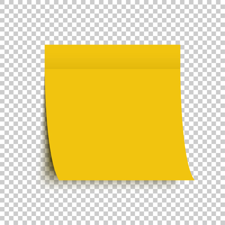 Yellow post note sticker. Sticky note. Yellow sticker with shadow on transparent background. Eps10
