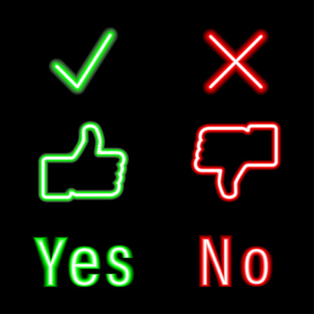set neon icons green and red color. Yes, No. Check mark icons. Eps10