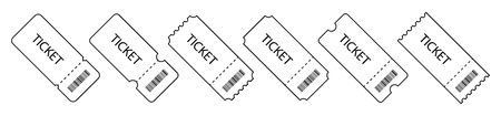 set of Tickets in a row in a linear design. Blank Templates Tickets. Eps10