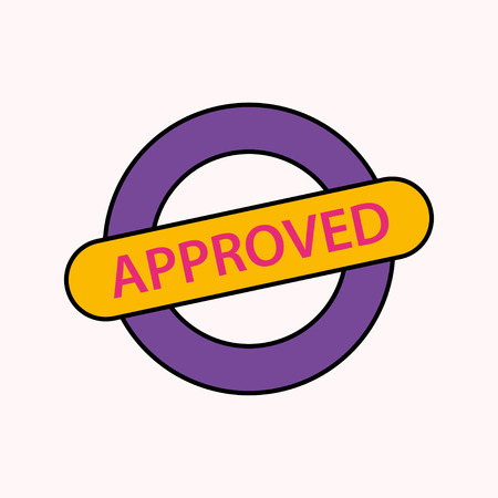 Approved stamp sign colorful in cartoon design. Eps10 Illustration