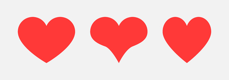 Three red heart icons for your design. Love symbol. Hearts icons for design on Valentines Day. Eps10 Illustration