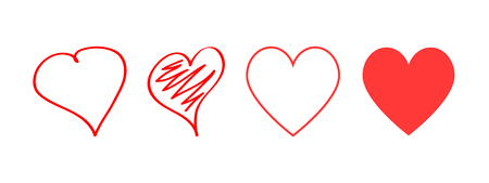 Red hearts icons different design. Love symbol. Heart hand drawn. Line design. Heart icons for design on Valentines Day. Eps10
