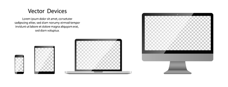Realistic Phone, Tablet, Laptop and Computer monitor with transparent screen on blank background. Illustration