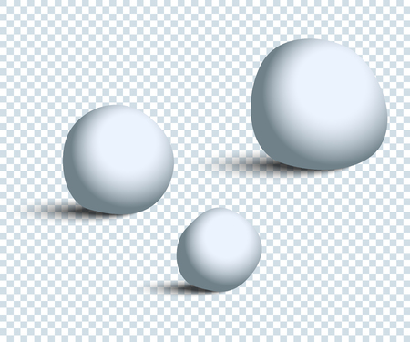 Three white realistic Snowballs with shadow on transparent background. Eps10 Иллюстрация