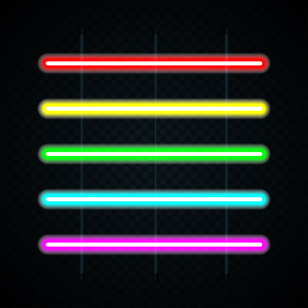 Set of colored neon lamps on transparent background. Neon tube light. Vector illustration