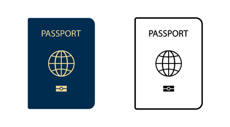 Two Template Passport. vector icon. Passport in flat design and line design. Illustration
