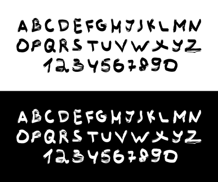 Isolated Lettering Font on white and black backgrounds. Lettering Alphabet. Handwritten brush style. Typography for Designs. Eps10