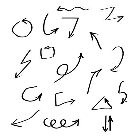 Set of vector black arrows hand drawn brush. Arrow vector collection. Eps10