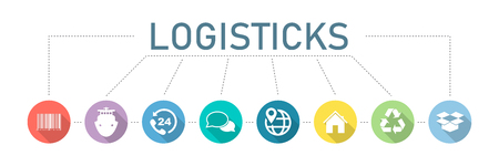 Logistics. Set of icons. Modern company logistics processes. Banner logistics with colorful vector icons. Eps10