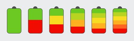 Set of battery charge level indicators. Vertical level indicator battery charge. Indicators concept. Eps10