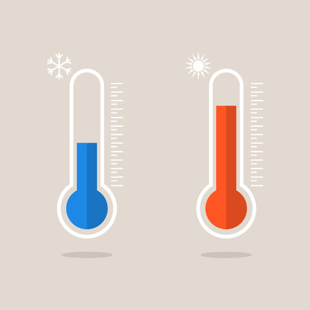 Thermometer icons measuring heat and cold. Thermometers showing hot and cold weather. Eps10 Illustration