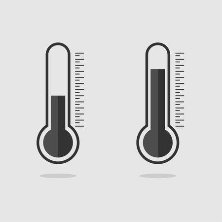 Template black Thermometers. Web icons. Thermometer icons with shadow. Eps10 Illustration