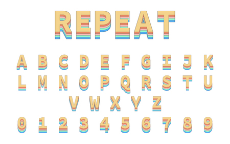 Colorful Repeat Font. Alphabet in colorful trending. Reto bold font. Eps10