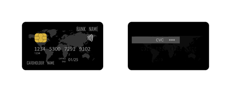 Vector credit card. Template realistic black credit card. Eps10