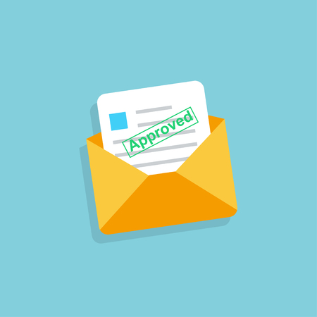 Envelope with approved letter in flat design. Eps10
