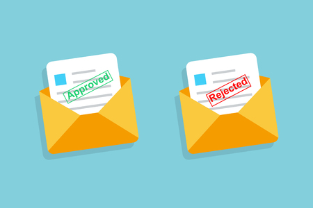 Two envelope with approved and rejected letters in flat design. Eps10 Illustration