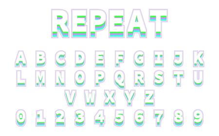 Font in repeat design. Reto bold font. Alphabet in colorful trending. Vector font and alphabet. Eps10 Illustration