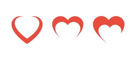 Three Red Hearts in row on blank background. Eps10