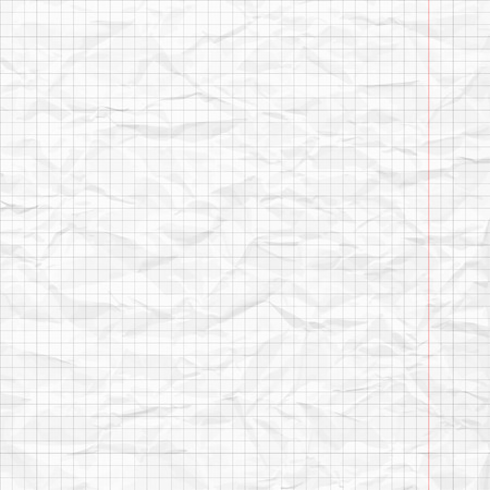 Realistic white blank crumpled sheet of a notebook in a cell. Eps10 Archivio Fotografico - 126298237