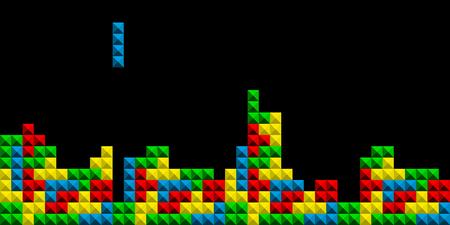 Game Tetris pixel bricks. Colorfull Game background - Vector illustration