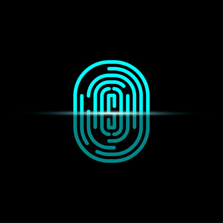 Realistic Fingerprint scanner in flat style. Identification system. Black background.