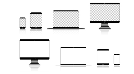 Realistic Phone, Tablet, Laptop and Computer monitor with white screen on blank background. Ilustração