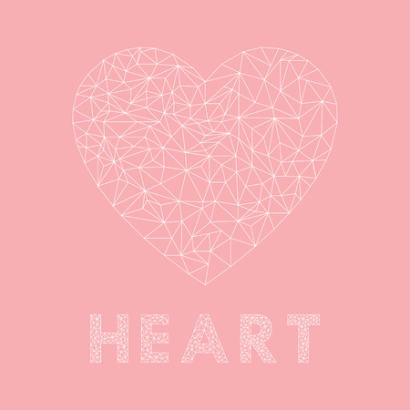 Abstract Heart in triangulation on Pink background. Vector heart icon. Eps10 Illustration
