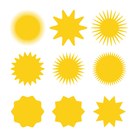 Sun icons vector collection. Sun icons yellow. Sun icon set. Vector suns icon. Eps10
