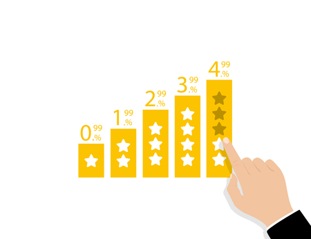 Star rating with percent. Positive feedback concept. Hand give five star rating. Eps10
