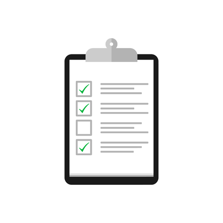Clipboard with cheklist and check mark in flat design. Tasks icon. Eps10