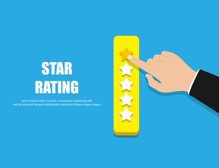 Star Rating. Hand giving five star rating. Vector illustration. Eps10