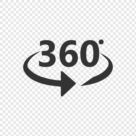 Angle 360 degrees icon. 360 degrees view sign on transparent background.
