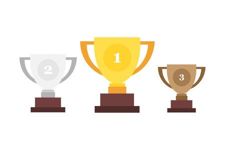 Winner cup. Trophy cup. Gold, Silver and Bronze cups in flat design. Ilustração