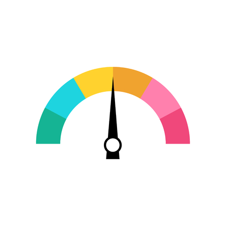 Rating scale rainbow color. Speedometer icon in flat design. Eps10