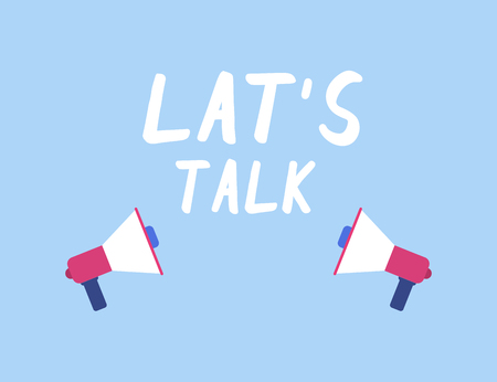 Let s talk. Two megaphone in flat design. Eps10