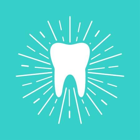 Weißer Zahn mit Sonnenstrahlen auf blauem Hintergrund. Flaches Design. eps10
