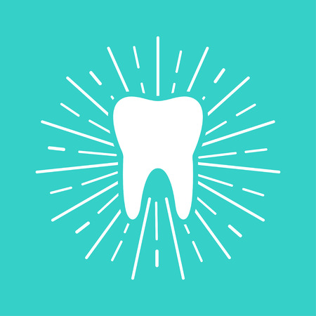 White Tooth with sun rays on blue background. Flat design. Eps10