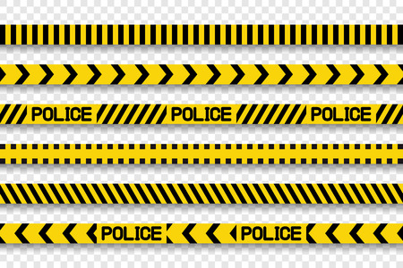 Collection police stripes and tapes with shadow on transparent background. Eps10 Standard-Bild - 119418328