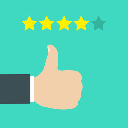 Business hand give like for five star rating. Feedback concept. Five rating stars. Eps10 Stock Illustratie