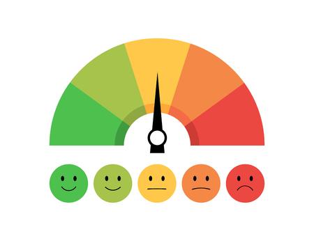 Icono de velocímetro con escala y emociones. Retroalimentación en forma de emociones. Diseño plano. Eps10