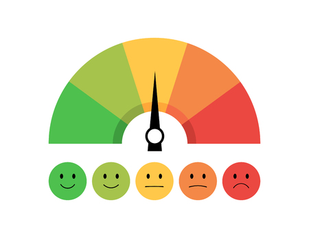 Speedometer icon with scale and emotions. Feedback in form of emotions. Flat design. Eps10