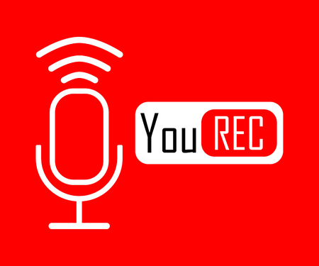 White Microphone in linear design with, You Rec icon on red background. Eps10 Illustration