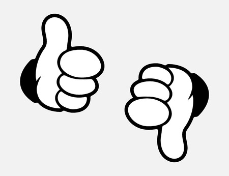 Like icon white color in cartoon design. Thumb up and thumb down. Eps10