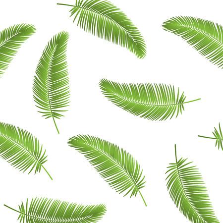 Fondo senza cuciture foglia di palma. Sfondo di foglie di palma. Foglia di palma realistica. Foglie di palma su sfondo bianco. Eps10
