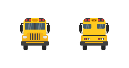 School Bus in flat design. School bus yellow. View from behind and before school bus. Eps10