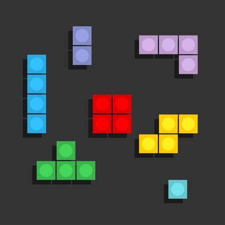 Game Tetris pixel bricks. Colorfull Game background. Eps10 Illustration